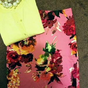Talbots Cotton Canvas Floral Skirt